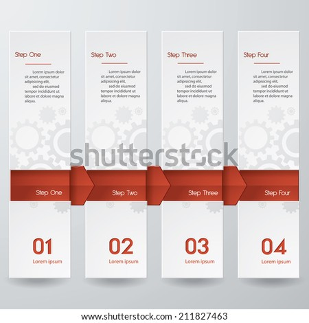 Design clean number banners template/graphic or website layout. Vertical layout with arrow. - stock vector