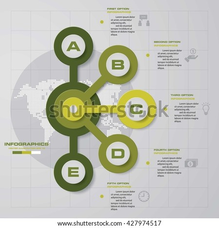 Design clean template/graphic or website layout. 5 steps in the circle shape layout. - stock vector