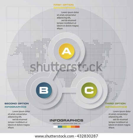 Design clean template/graphic or website layout. 3 steps in the circle shape layout. - stock vector