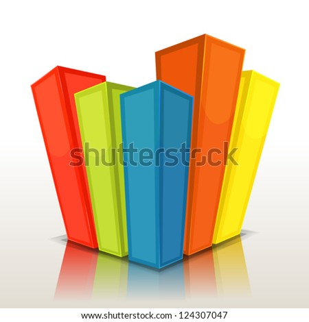 Design Columns And Stats Bars/ Illustration of a graphic business design 3d charts and statistics bars or buildings background - stock vector