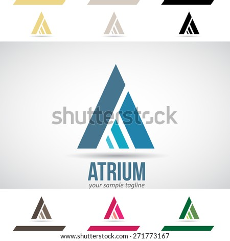 Design Concept of Blue, Green and Magenta Stock Logos Icons and Shapes of Letter A, Vector Illustration  - stock vector