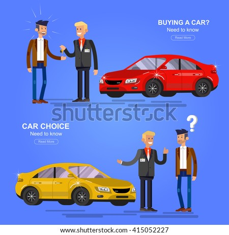 design concept of choice car and buying a car. Vector car, car cool flat, car  illustration. Vector detailed character buyer and seller, cool flat  illustration. Web banner template - stock vector
