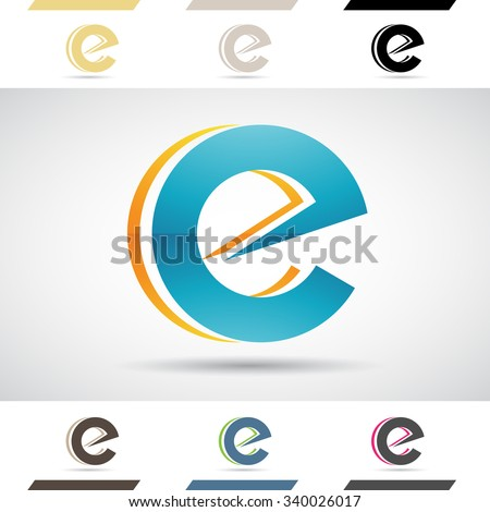 Design Concept of Colorful Stock Icons and Shapes of Letter E, Vector Illustration  - stock vector