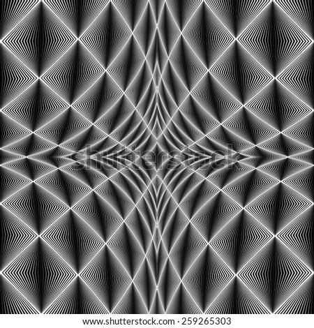 Design diamond concave texture. Abstract geometric monochrome perspective background. Vector art. No gradient - stock vector
