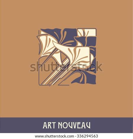 Design element in art nouveau style - stock vector