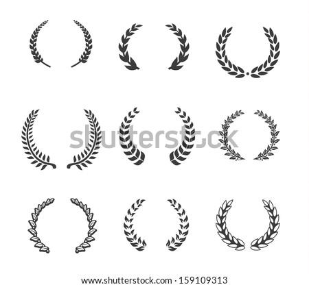 Design element - Laurels and Wreaths - stock vector