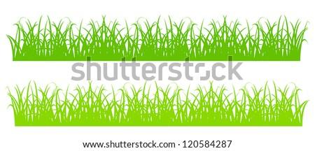 Design element - silhouette of cartoon green grass. EPS10 vector. - stock vector