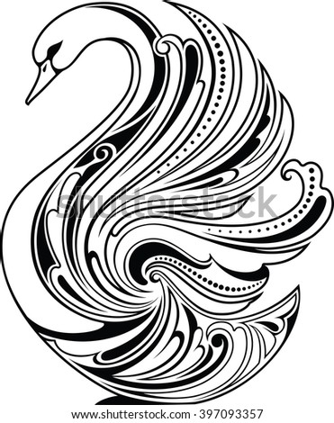 Design element. Stylized swan - stock vector
