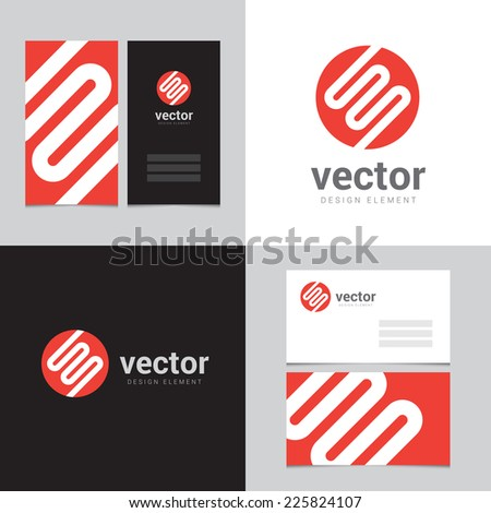Design element with two business cards - 04 - stock vector