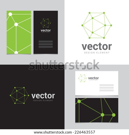 Design element with two business cards - 03 - stock vector