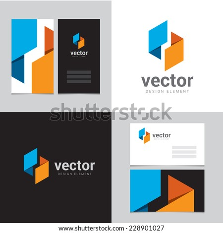 Design element with two business cards - 10 - stock vector