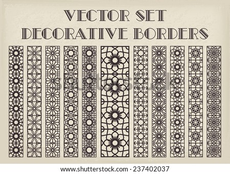 Design elements and page decoration. Vector borders set - stock vector