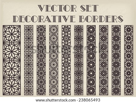 Design elements and page decoration. Vector set of borders - stock vector