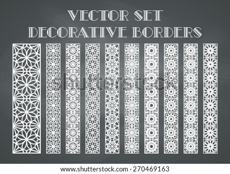 Design elements and page decoration. Vector set of borders on chalkboard background - stock vector