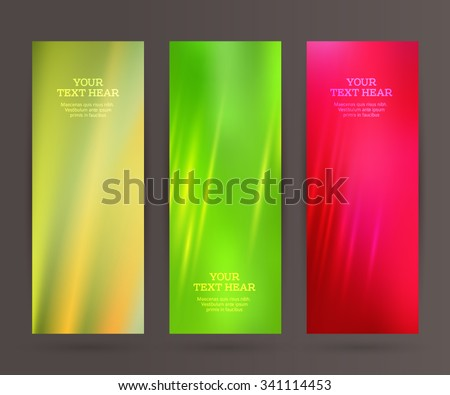 Design elements business presentation template. Vector illustration set vertical web banners background, backdrop blurry glow light effect . EPS 10 for web buttons template, web site page presentation - stock vector