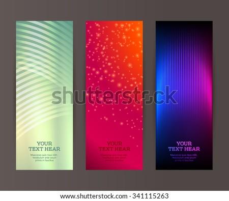 Design elements business presentation template. Vector illustration set vertical web banners background, backdrop glow light effect . EPS 10 for web buttons template, web site page presentation - stock vector