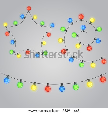 Design elements. Christmas garland with shiny light bulbs - stock vector