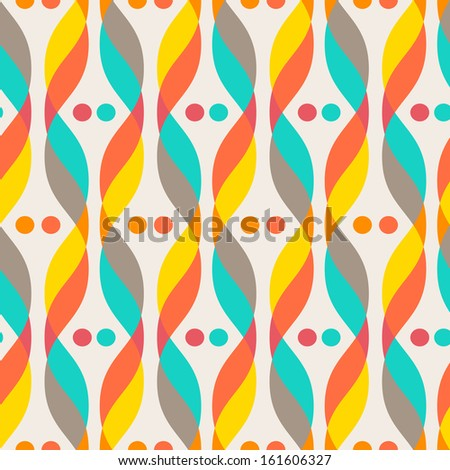 Design elements - colorful waves and dots. Seamless background. Vector illustration. - stock vector