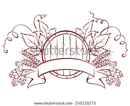 Design elements -- composition with beer keg - stock vector