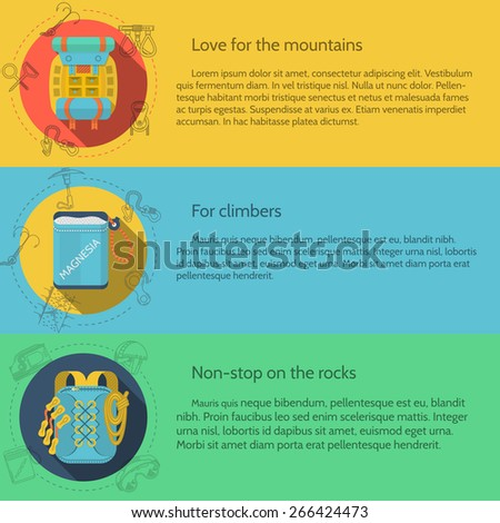 Design elements for rock climbing and hiking outfit on colored backgrounds with sample text for your business or website. Flat vector illustration - stock vector