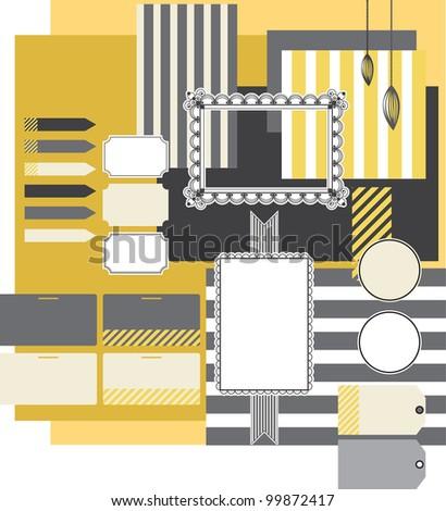 design elements for scrapbooking - stock vector