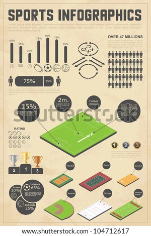 Design elements for sports infographics. Vector illustration. - stock vector