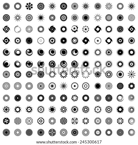 Design elements in circle shape. 144 abstract icons. Set. Vector art. - stock vector