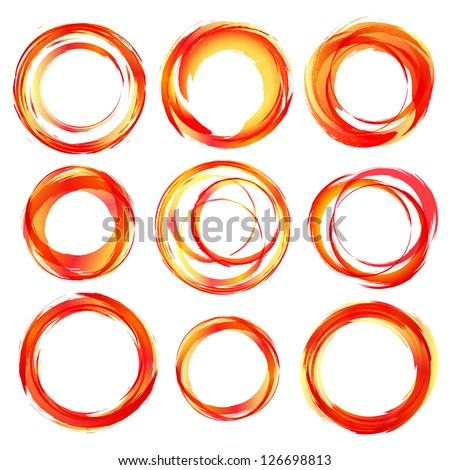 Design elements in red orange colors icons. Vector illustration. - stock vector