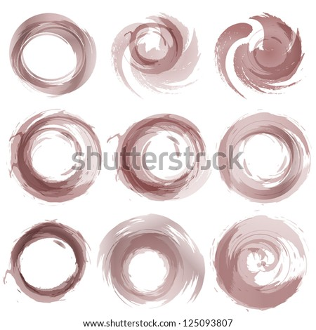 Design elements in vintage sepia colors icons. Vector illustration. - stock vector