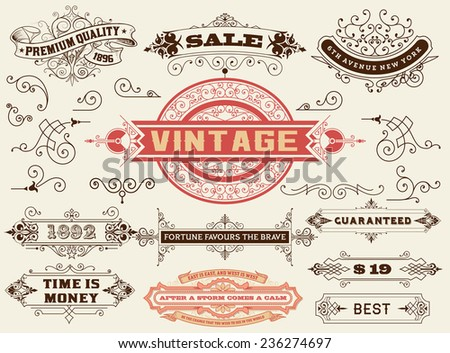 Design elements: Labels, banners, baroque frames and floral ornaments collection - stock vector