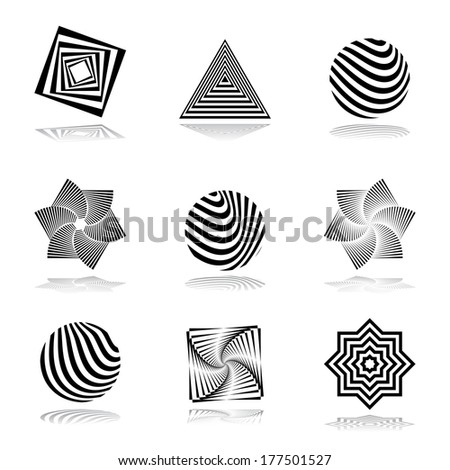 Design elements set. Abstract graphical icons. Vector art. - stock vector