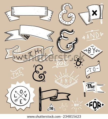 Design elements set and catchwords - stock vector