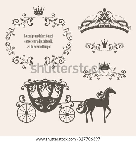 Design elements, vintage royalty frame with crown, ornamental style diadem, carriage in brown color. Vector illustration. Isolated on beige background. Can use for birthday card, wedding invitations. - stock vector