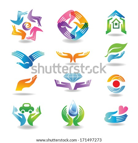 Design elements with hands which hold and protect  - stock vector