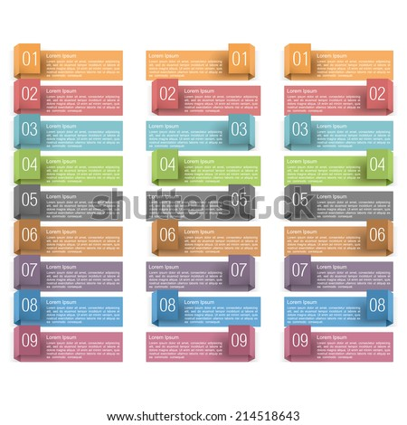 Design elements with numbers and place for your text, origami banners set, vector eps10 illustration - stock vector