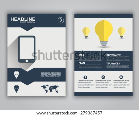 Design flyers, brochures, booklets, covers for advertising or marketing. Icons in a flat style on business theme with long shadows and text. - stock vector