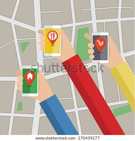 Design for app. Hands hold smarthphone with gps map. Pin pointer. Vector illustration - stock vector