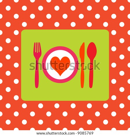Design for healthy food, healthy meal or valentine dinner - stock vector