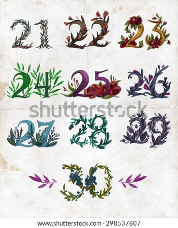 Design for invitation, education, wedding, birthday and greeting cards. Watercolor vector set with numbers from twenty one to thirty. Numbers with  season leaves and flowers.  - stock vector