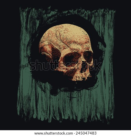 Design for poster or t-shirt print with skull and circle grunge textures. vector illustration - stock vector