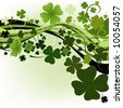 design for St. Patrick's Day with four and three leaf clovers - stock vector