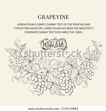 Design for wine list. Vector illustration. - stock vector