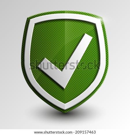 Design green 3d shield checkmark protect Vector security protect - stock vector