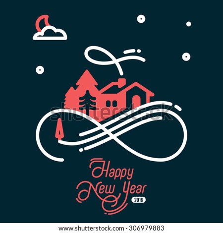 Design Illustration Concepts Christmas Eve. Calligraphy. Style Typographic. Vector Illustration. Concepts Web Banner and Printed Materials. Trendy and Beautiful. Flat Elements  - stock vector