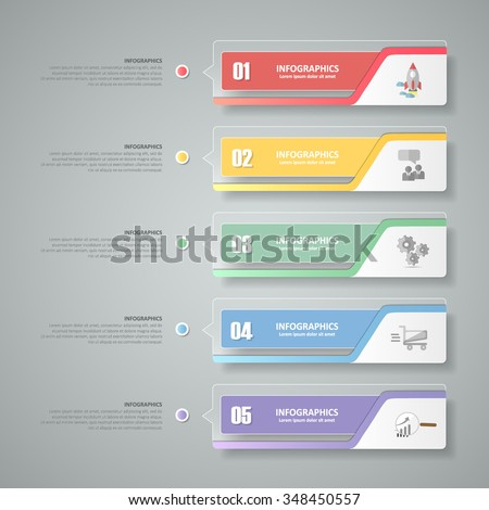 Design infographic template 5 steps for business concept. - stock vector