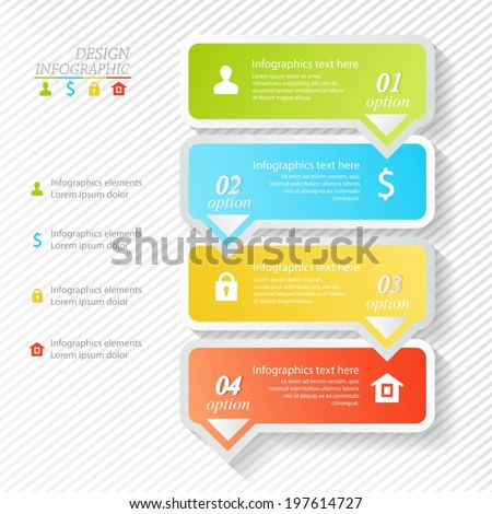 Design infographics four successive options - stock vector