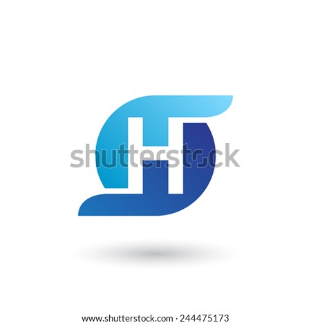 Design logo icon template with letter H. Vector illustration. - stock vector