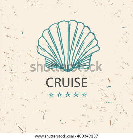 Design logo of cruise travel and tourism. Hand drawn silhouettes. Beach vacation in the tropics beach. Logo for advertising tourism companies, tour operators. - stock vector