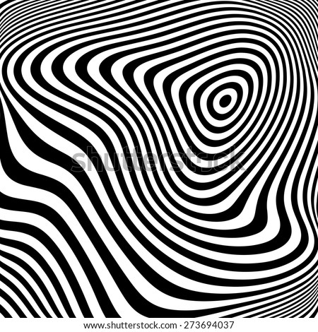 Design monochrome ellipse movement illusion background. Abstract stripe torsion texture. Vector-art illustration - stock vector