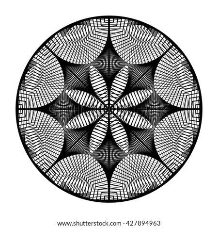 Design monochrome grid textured background. Abstract rotation backdrop. Vector art. No gradient - stock vector